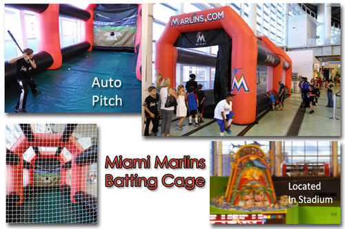 Miami Marlins Batting Cage with pitching machine