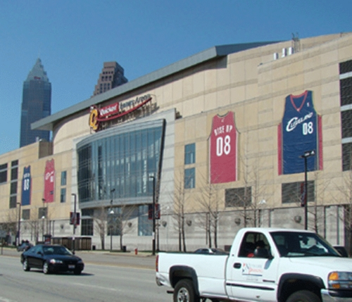 Four Cavs GIANT Jerseys on the Quicken Loans Arena