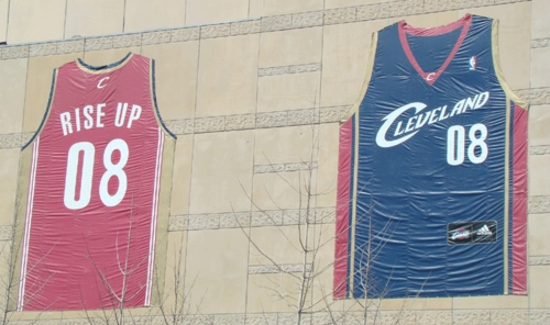 Cavs-Jerseys on Q Arena